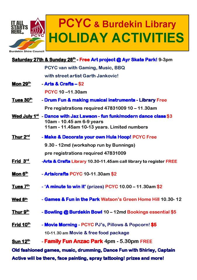 School holiday activities burdekin for Activities to do on christmas day at home